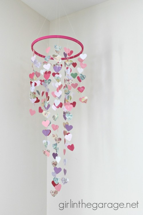 hanging hearts mobile (via girlinthegarage)