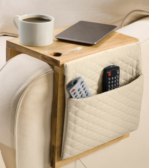Creative storage 8 diy sofa caddies and holders shelterness for Sofa organizer