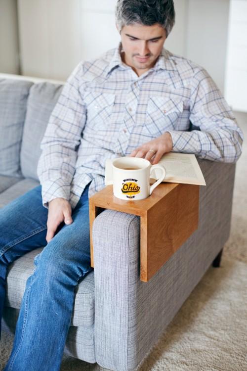 wooden sofa cup holder (via abeautifulmess)