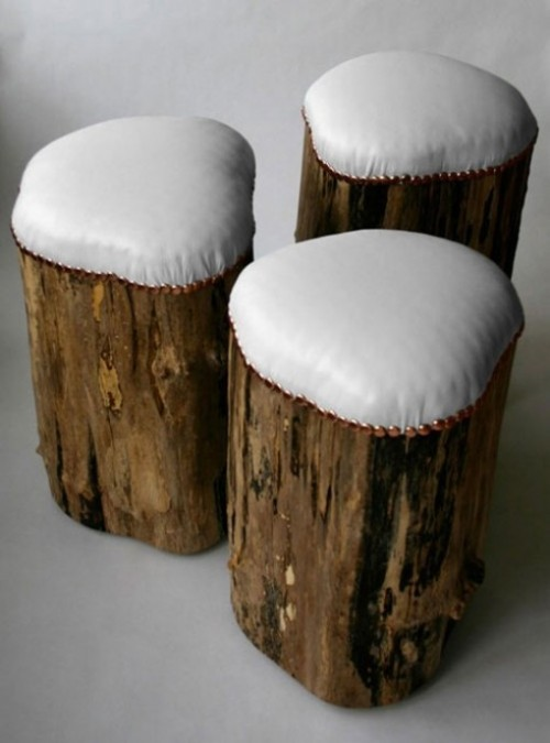 Upholstered Tree Stump Stools