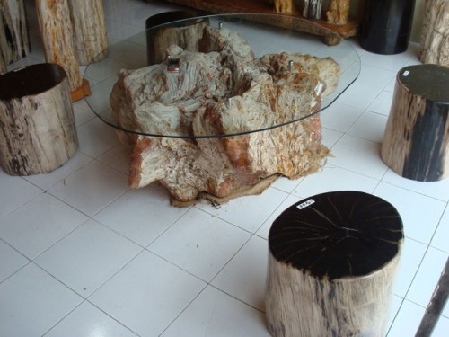 Tree Stump Coffee Table And Stools