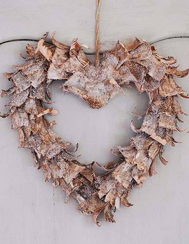 Curled Birch Bark Heart Wreath