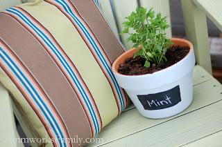 chalkboard herb planters (via formulamom)