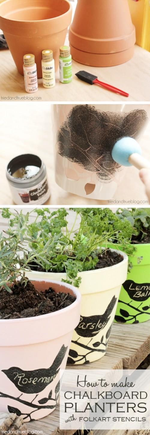 chalkboard stencil planters (via craftbyphoto)