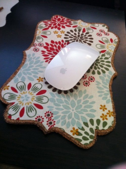 Cute DIY Mousepad From Fabric And Cork Board Shelterness Wb7tnQ4h