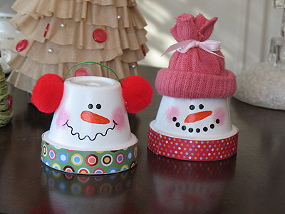 Cute DIY Snowmen From Terra Cotta Pots