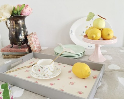 Cute DIY Wallpaper Breakfast Tray