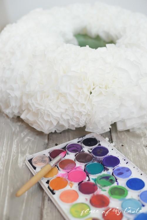 Cute DIY Watercolor Coffee Filter Wreath