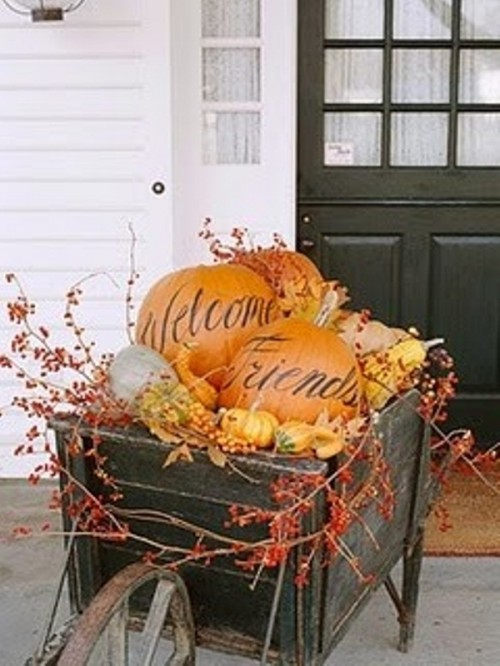 For a more original look turn the pumpkins on your display into welcome signs.