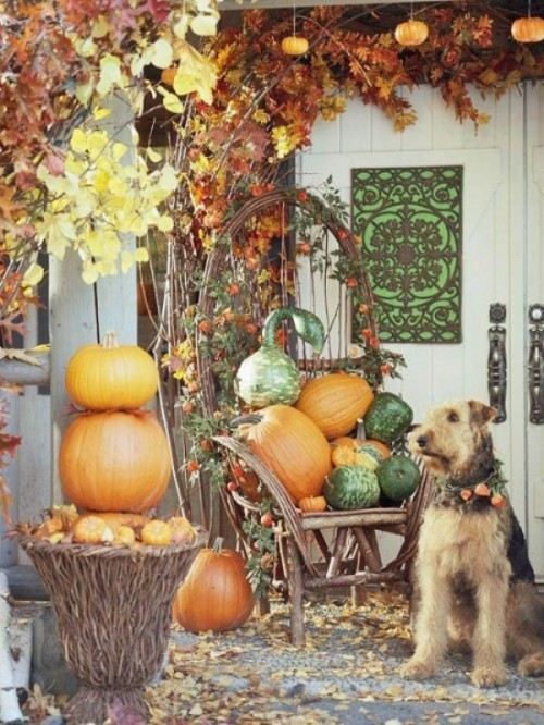If you have a chair on your porch simply fill it with pumpkins and you're good to go.