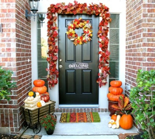 Faux leaves usually works better if you want to decorate your front porch in a cute way.