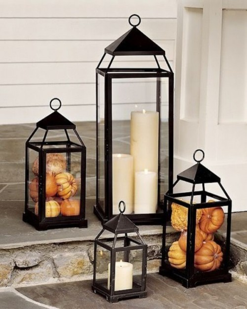 Fall lanterns could be filed with traditional candles but you can also spice things up and stuff them with tiny pumpkins, berries, leaves or some other small products of this beautiful time of the year.
