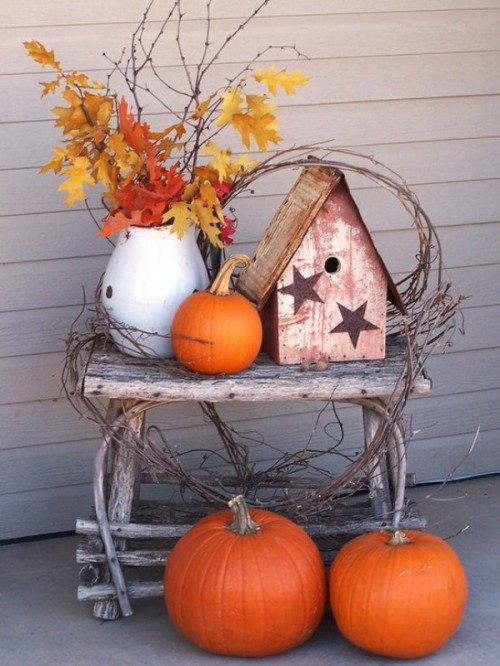 Pumpkins, twigs and fallen leaves are the most popular thing to use in autumn's arrangements.