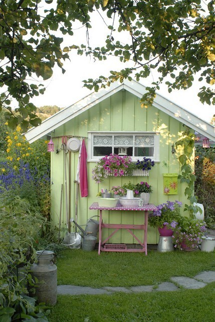 cute green potting shed shelterness