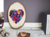 pompom heart for Valentine's Day