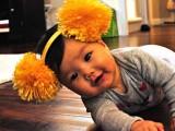 large pompoms headband