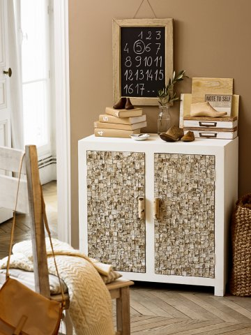 Decorating A Cabinet With Bark Tiles