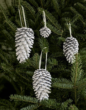 Decorating Christmas Tree With Pinecones