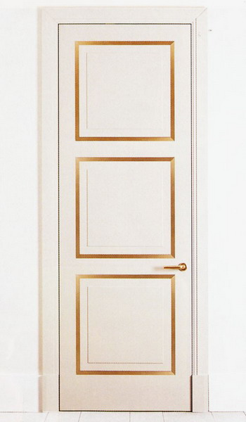 a neutral door stenciled up with gold looks bold, chic and interesting and will fit many spaces