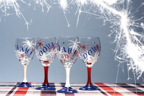 Decorating Glasses For Fourth of July