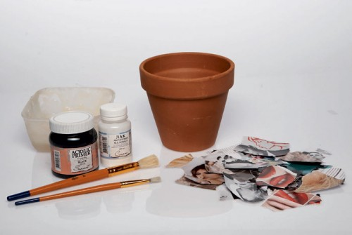 Decorating Planter In Paper Mache Style