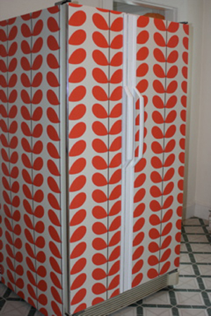 Wallpapered fridge decor