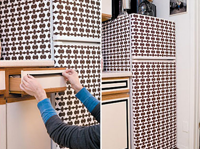 Geometric wallpaper on a refrigerator
