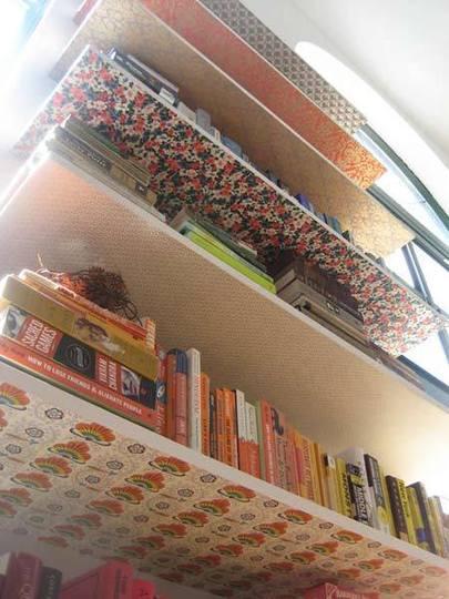 Decorating Shelf Bottom With Wallpaper