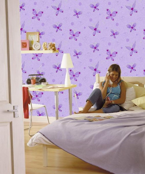 pink and purple butterfly printed wallpaper is a bright idea for an accent wall in a girl's room