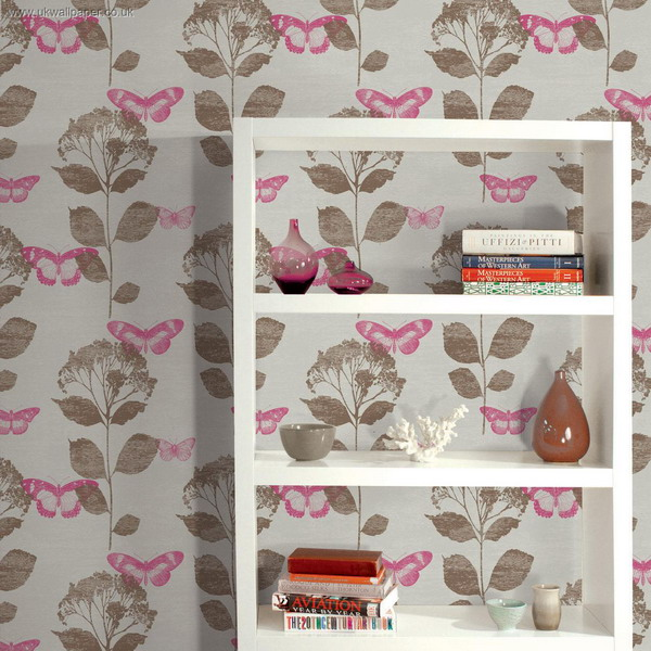 botanical and butterfly print wallpaper is a stylish idea for a space with a light vintage feel