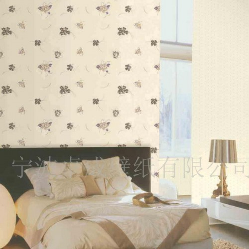 grey wallpaper with butterfly printing is a cute idea for a neutral bedroom or for a chic girl's space