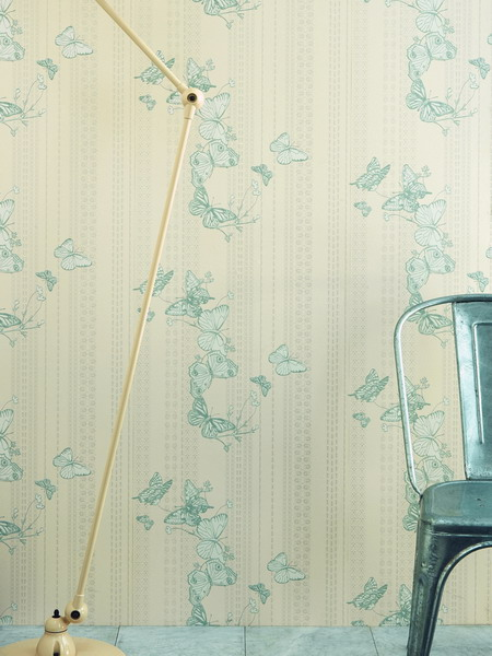 neutral wallpaper with a simple butterfly print is a cool idea for a subtle space where you don't want bright touches