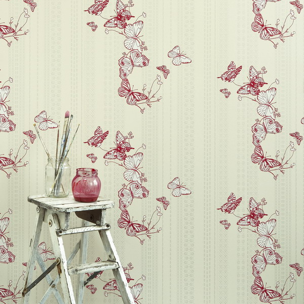 neutral wallpaper with red butterfly printing is a brighter idea to make an accent wall with wallpaper