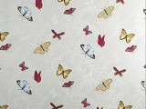 grey wallpaper with colorful butterfly decals is a cool idea to decorate your space with some bold touches
