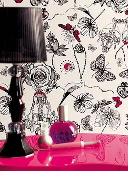 black, red and white wallpaper with whimsical prints to add a quirky touch to your space