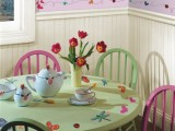 pretty flower and butterfly decals will spruce up your kids' vintage playspace making it more fairy-tale