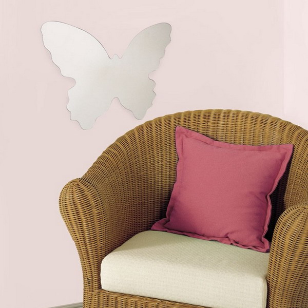 a large butterfly shaped mirror is a cool decor statement with a girlish feel