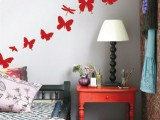 red butterfly decals on the wall will enliven a neutral bedroom and make it stand out a bit