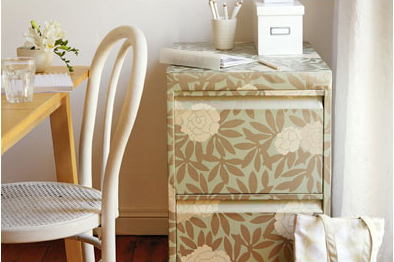 Decorating Whole Cabinet With Wallpaper