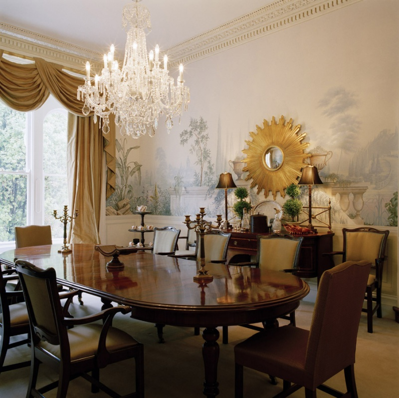 Picture of decorating with sunburst mirrors for Dining room mirror ideas