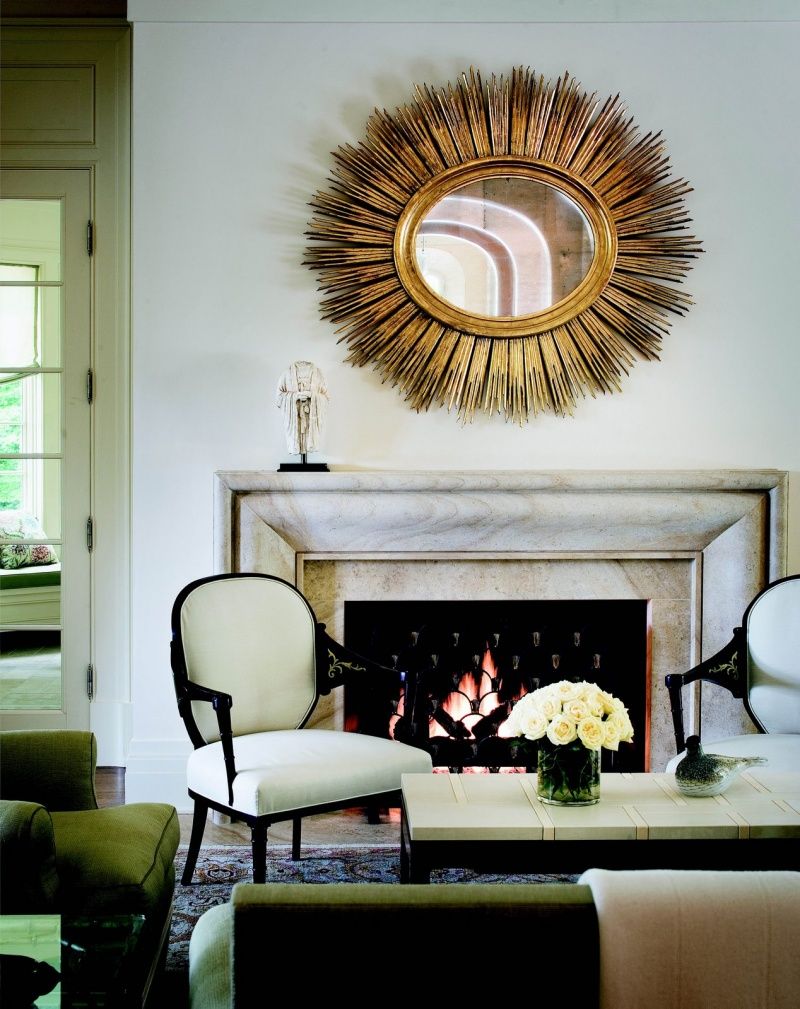 picture of decorating with sunburst mirrors