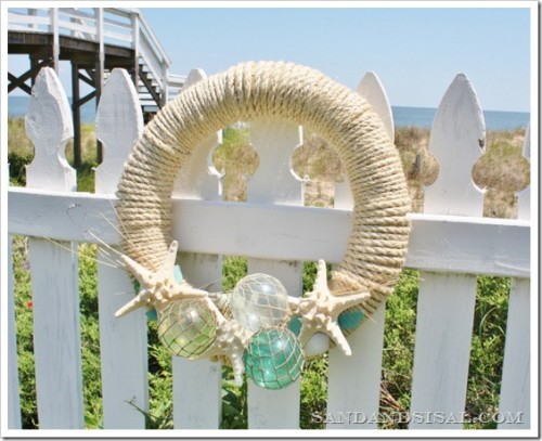 glass float summer wreath (via sandandsisal)