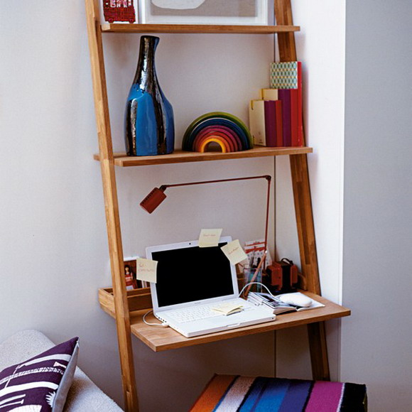 desk and shelving system in one shelterness