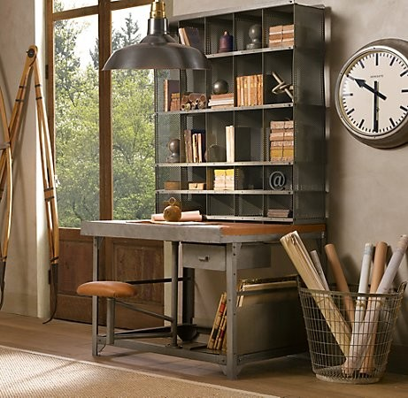 With right furniture industrial style home office is quite easy to design. This storage unit combined with a desk is looks truly amazing.
