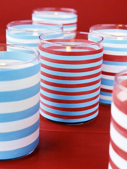 Diy 4th Of July Candle Holders Of Glasses