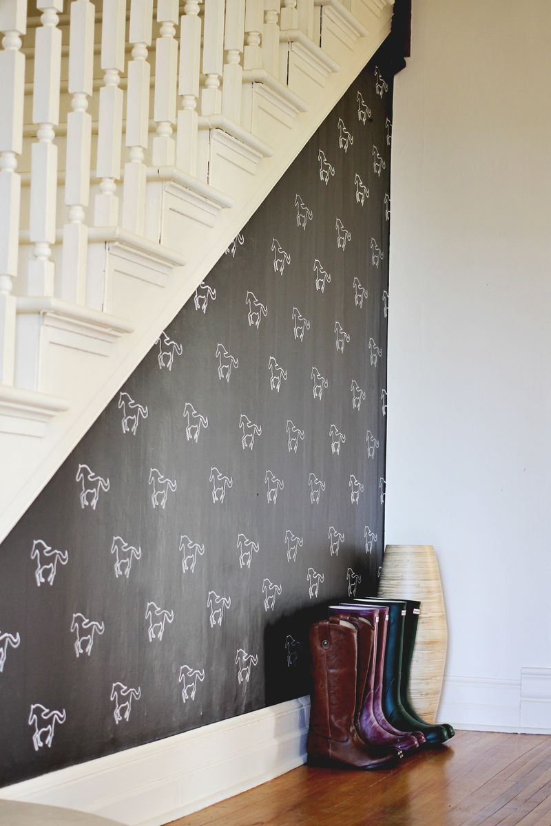 stenciled chalkboard wall