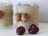 burlap acorn candleholders