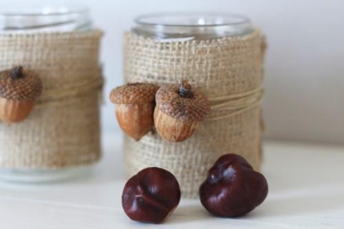 burlap acorn candleholders (via victoriabrikho)
