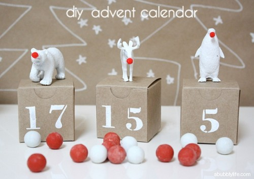 DIY Advent Calendar With White Painted Animals