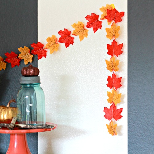 DIY Autumn Garland Of Faux Leaves
